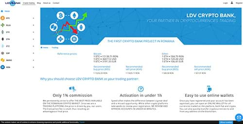 LDV Bank website with RON trading